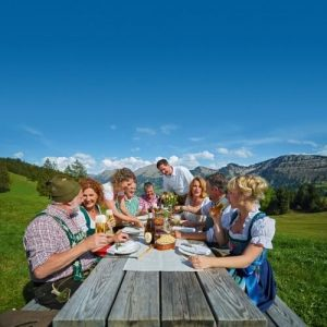 Sunday brunch in the country with food and German beer