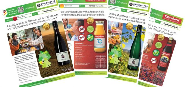 Organic juice and wine Infosheets for Rabenhorst and Brogsitter German beverages