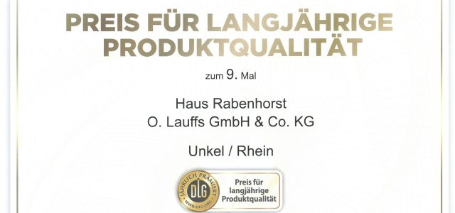 DLG awards Rabenhorst top prize for the 9th time