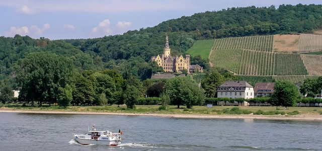 Schloss Ahrenfels from Bad Breisig on the Rhine River, Germany
