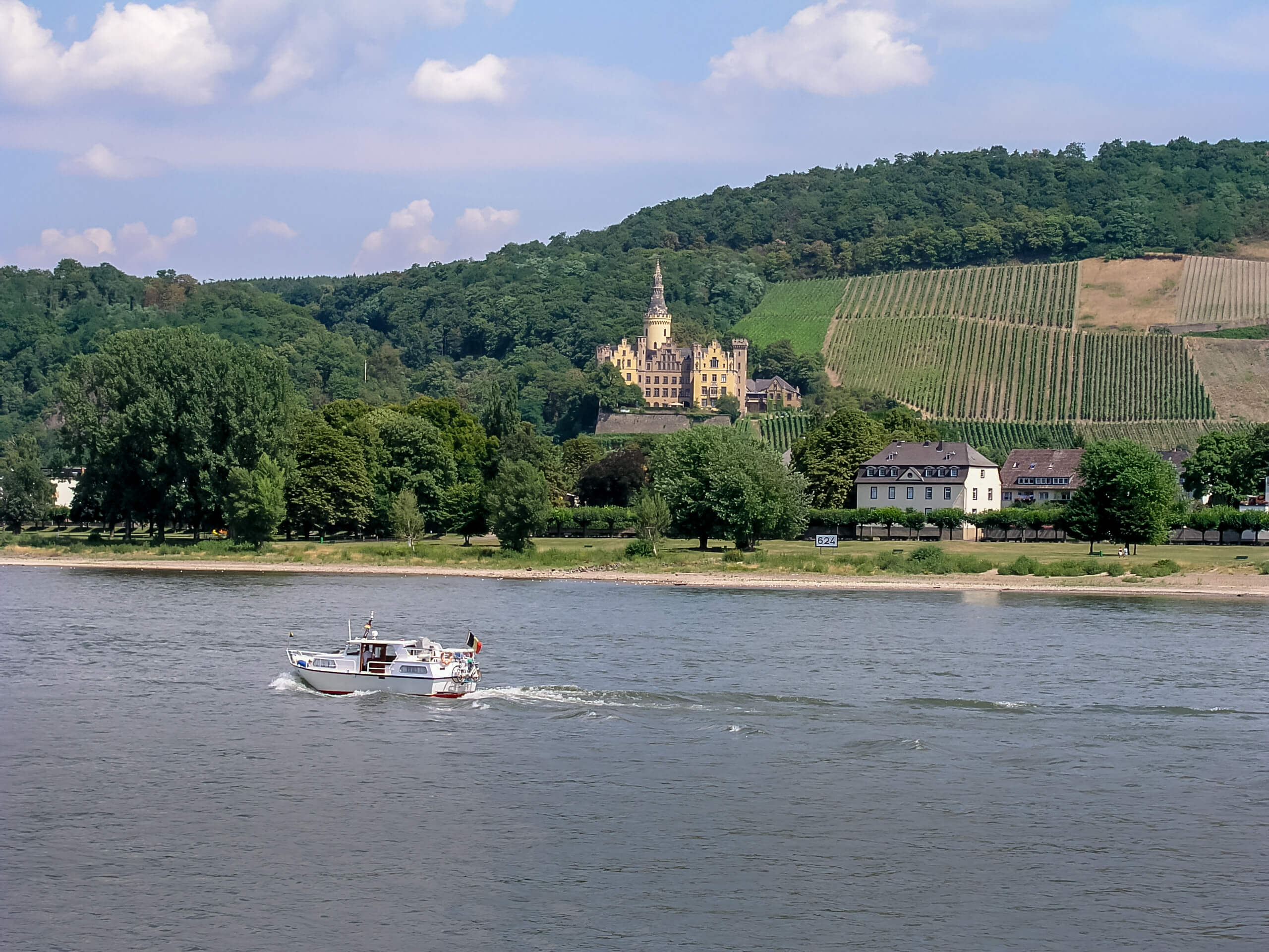 View of Schloss Ahrenfels from Bad Breisig on the Rhine River