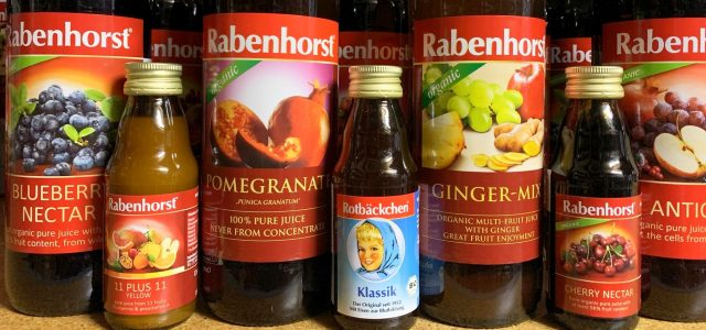 Rabenhorst juice bottles mini and large